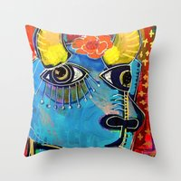 spanish Throw Pillows featuring Spanish Bull by Rookery Design
