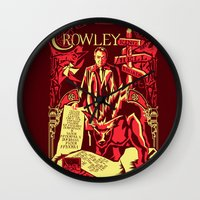 crowley Wall Clocks featuring Crowley by Tracey Gurney