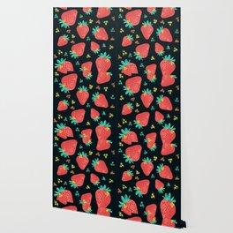 Strawberries | Black Wallpaper
