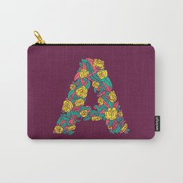 Floral Type - Letter A - Wine Berry Carry-All Pouch