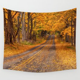 Fall Rural Country Road Wall Tapestry
