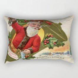 Antique Santa wih pipe Merry Christmas Rectangular Pillow