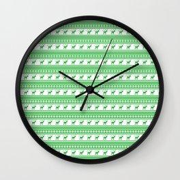 Green Reindeer Christmas Pattern Wall Clock