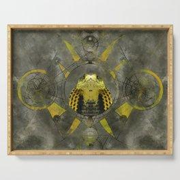 Cobra Sacred Geometry Digital Art Serving Tray