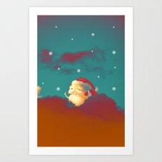 Santa Clouds Art Print