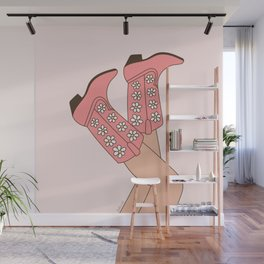 Girl in Pink Floral Cowboy Boots, Western Cowgirl with Legs in the Air in Pastel Blush Colors Wall Mural