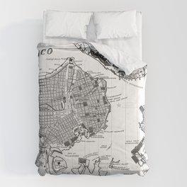 Vintage Map of Havana Cuba (1898) 2 BW Comforters