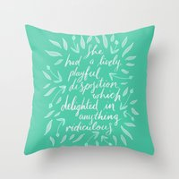 pride and prejudice Throw Pillows featuring Pride and Prejudice by IndigoEleven