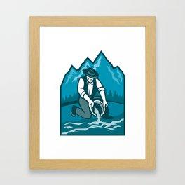 Gold Prospector Miner Pan Retro Framed Art Print