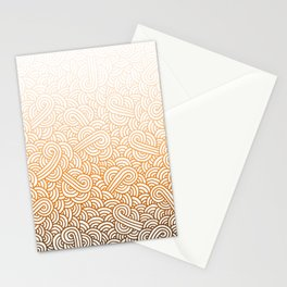 Gradient orange and white swirls doodles Stationery Cards