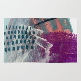 Pheonix: a bright abstractmixed media piece in pink, purple, blue, and white Rug