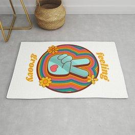 Feeling Groovy - Retro Rainbow Peace Sign Rug
