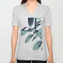 Ficus Elastica Beach Vibes #1 #foliage #decor #art #society6 Unisex V-Neck