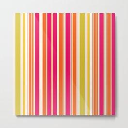 Stripes (Parallel Lines) - Orange Pink Green White Metal Print