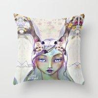jane davenport Throw Pillows featuring Dear Deer by Jane Davenport by Jane Davenport