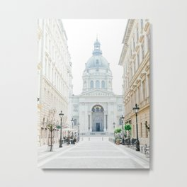 Street view with Saint Stephen Cathedral in Budapest city, Hungary Metal Print