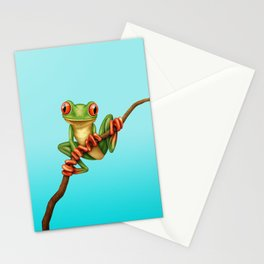 Cute Green Tree Frog on a Branch Stationery Cards