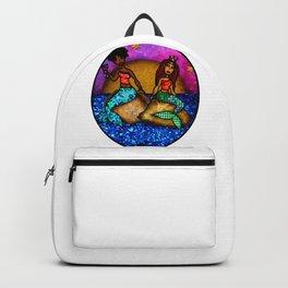 2 Mermaids drinking Wine Backpack