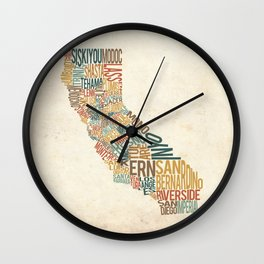 California by County Wall Clock