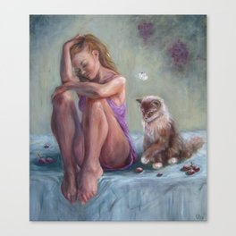 A Girl And A Cat Canvas Print