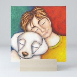 A Boy And His Dog Original Art Portrait Mini Art Print
