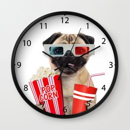 Pug watching a movie Wall Clock