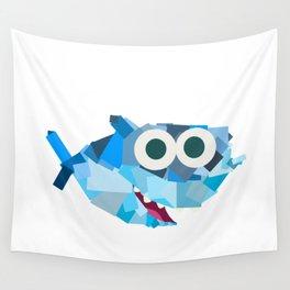 Square Shark Baby! - Shark Family Wall Tapestry
