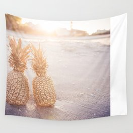 Golden Pineapples Wall Tapestry
