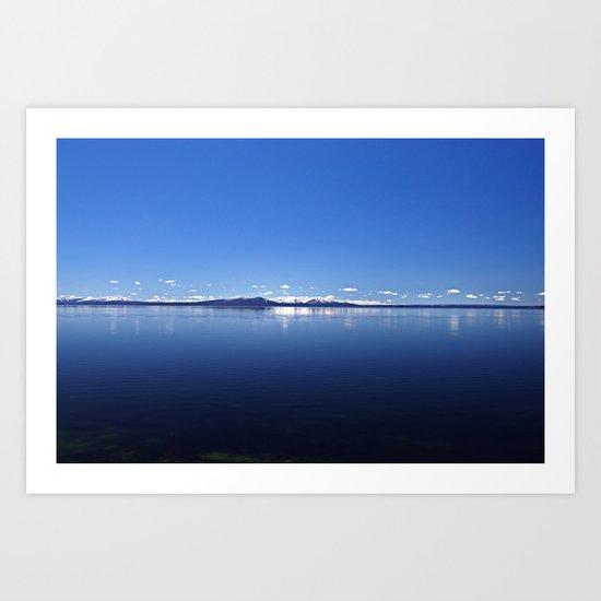 Blue Yellowstone Lake and Sky Art Print