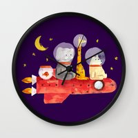 bruno mars Wall Clocks featuring Let's All Go To Mars by Picomodi