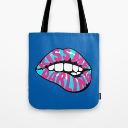 Light blue lips Tote Bag