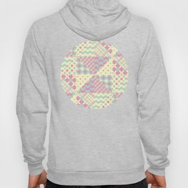 Yellow, Green & Pink Patchwork Pattern with Triangles Hoody