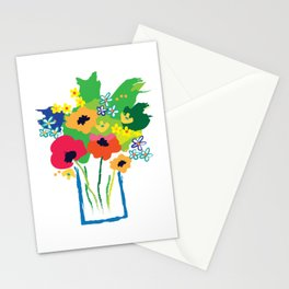 Modern Art Vase of Flowers, Picasso Style, Graphic, Bold Modern Stationery Cards
