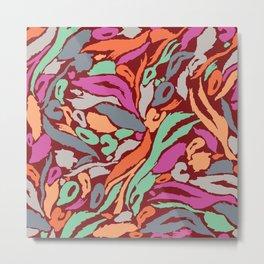 Animal Print Pattern- Earth, mango, neo mint Metal Print