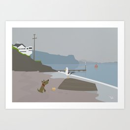 Dog and Bird and Boat Beach Wall Art, Beach Art Nursery Decor, Nursery Wall Art for Boys Room Art Print