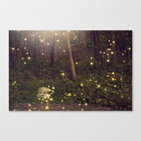 fireflies Canvas Prints featuring Fireflies by Maureen Anne
