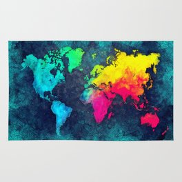 world map colors #map #world Rug