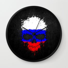 Flag of Russia on a Chaotic Splatter Skull Wall Clock