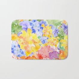 Modern whimsical pink purple yellow hand painted watercolor Bath Mat