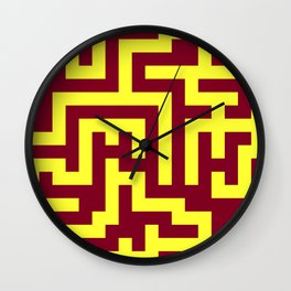 Electric Yellow and Burgundy Red Labyrinth Wall Clock