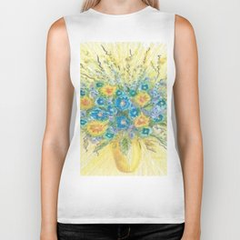 Blue And Yellow Flowers Biker Tank