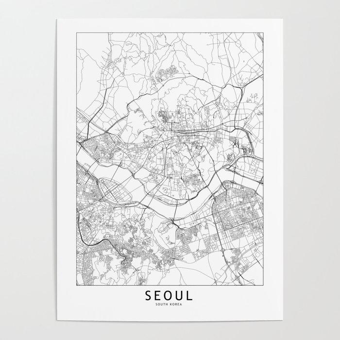 Seoul White Map Poster