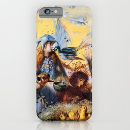 Fairies with birds by John Fitzgerald Anster iPhone Case