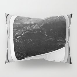 Window Seat // Scenic Mountain View from Airplane Wing // Snowcapped Landscape Photography Pillow Sham