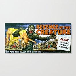 Revenge of the Creature, vintage horror movie poster, landscape Canvas Print
