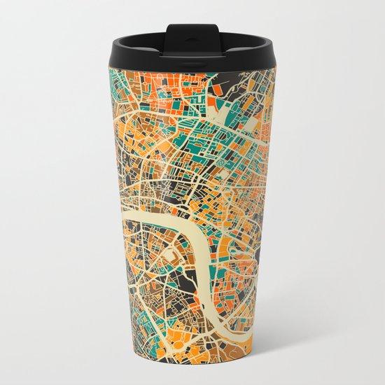 London Mosaic Map #3 Metal Travel Mug
