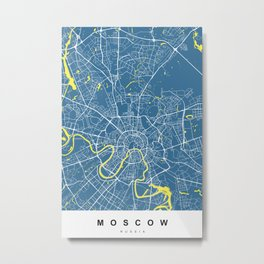 Moscow, Russia Map | Blue & Yellow | More Colors, Review My Collections Metal Print