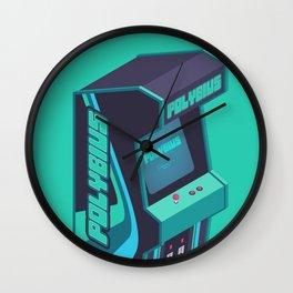 Polybius Arcade Game Machine Cabinet - Isometric Green Wall Clock