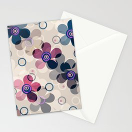 Retro, rustic, flowers, floral pattern, beige background Stationery Cards