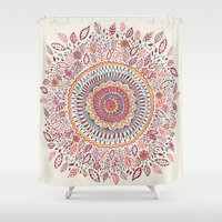 amy Shower Curtains featuring Sunflower Mandala by Janet Broxon